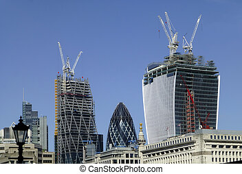 Construction in London - A shot showing the construction of...