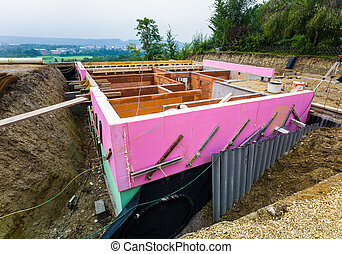 construction in solid brick construction - the shell of a...