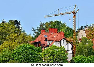 Construction in Svetlogorsk (Rauschen). Kaliningrad region, Russ