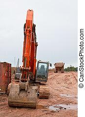 construction, industriel, excavateur, site, route