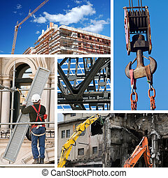 Composition of construction objects and themes