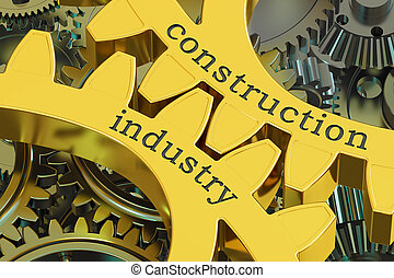 Construction Industry concept on the gears, 3D rendering