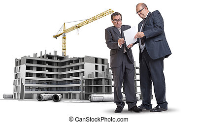 Construction industry corruption - Two men in a dubious...