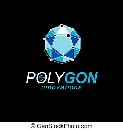 Construction industry emblem. Abstract 3D polygonal wireframe object, vector geometric low poly design element.