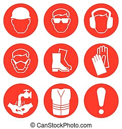 Construction Industry Icons - Red Construction Industry...