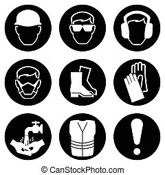 Construction Industry Icons - Monochrome black and white...