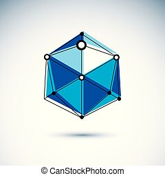 Construction industry logo. Abstract isometric construction, low poly vector illustration.