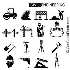 construction, ingénierie, conception, infrastructure, civil, ensemble, icône