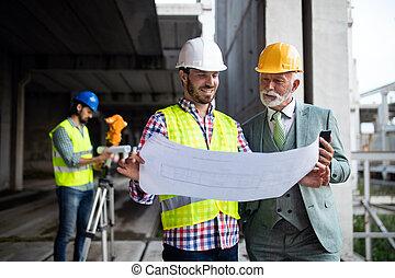 construction, ingénieur, ouvrier, vérification, contremaître site