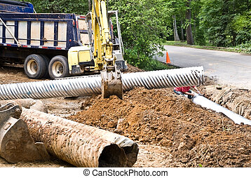 Construction  Installing New Pipes
