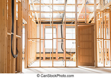 construction, intérieur, maison