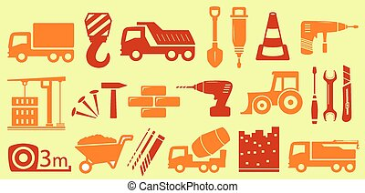 construction, isolé, objets