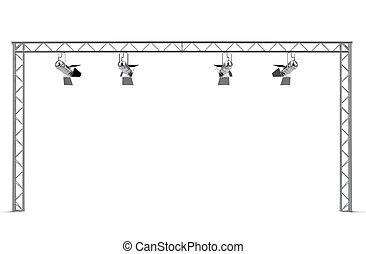 construction, isolé, projecteurs