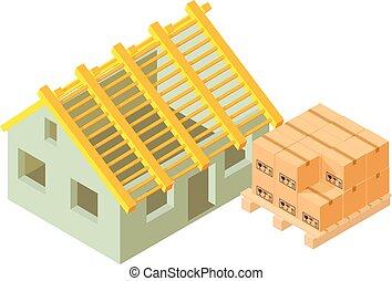 construction, isométrique, icône, maison, style