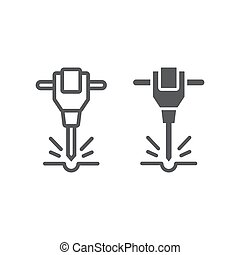 Construction jackhammer line and glyph icon, tool and...