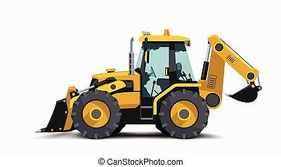 construction, jaune, côté, blanc, tracteur