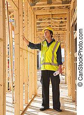 construction, jeune homme, site