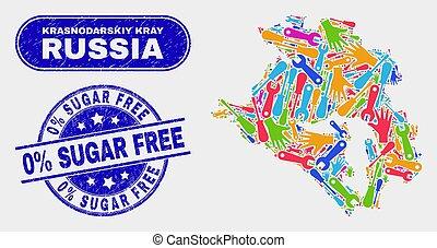 Construction Krasnodarskiy Kray Map and Grunge 0% Sugar Free Stamps