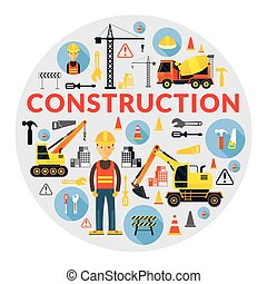 Construction Label - Worker, Equipment, Vehicles