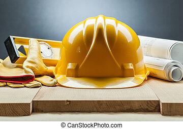construction level helmet gloves blueprints