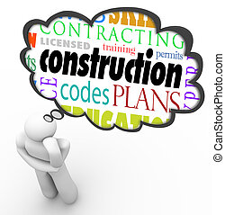 Construction License Permit Code Builder Words Thought Cloud...
