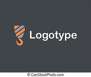 construction, logo, compagnie, vecteur, grue