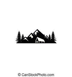 House silhouette near mountains,