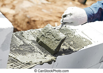 construction, maçonnerie, travail, maçon