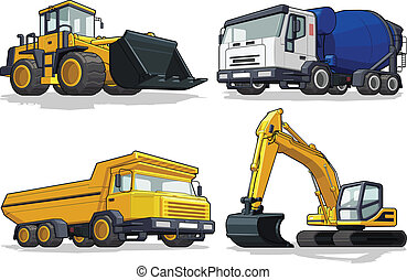 A vector set of several construction machines: bulldozer, cement truck, haul truck & excavator. Available as a Vector in EPS8 format that can be scaled to any size without loss of quality. Elements could be separated for further editing, color could be easily changed.