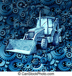 Construction machine equipment with a bulldozer or tractor against a background of gears and cog wheels as an industry symbol of the economy and working mechanical parts.