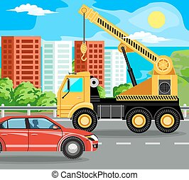 construction machinery and bilding - Crane rides on the...