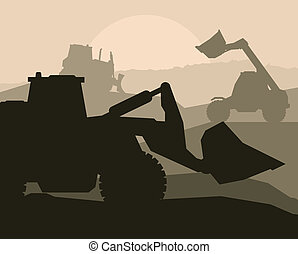 Construction machinery and building place vector background