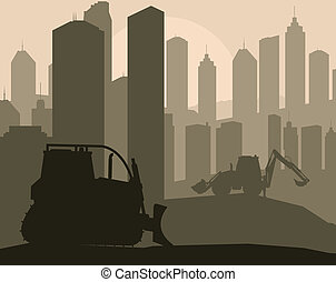 Construction machinery and building place vector