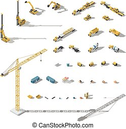 Construction machinery and equipment lowpoly isometric icon set