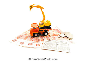 construction machinery, driving license and money