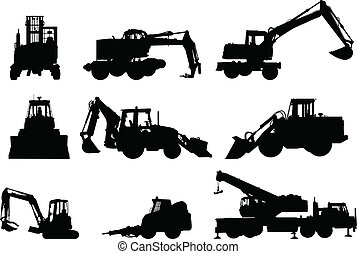 Construction Machinery - Collection of silhouettes of...