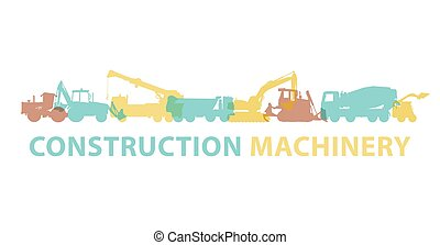 Construction machinery icon symbol. Ground works sign. Machines vehicles brand.