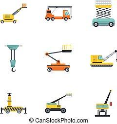 Construction machinery icons set, cartoon style