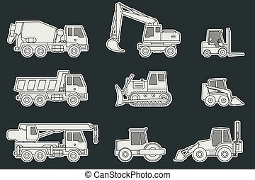 Construction machinery icons.