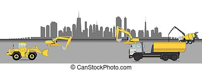 Construction Machinery in the City. Vector Illustration.