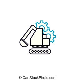 Construction machinery linear icon concept. Construction machinery line vector sign, symbol, illustration.