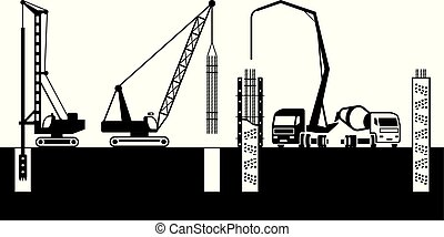 Construction machinery make foundations of building