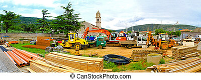 Construction machinery material and trucks at parking