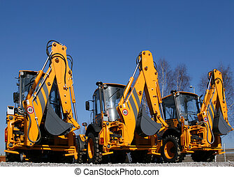 Construction machinery - New, shiny and modern orange...