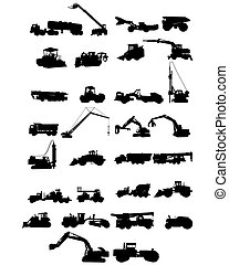 Construction machinery silhouettes - Vector illustration of...