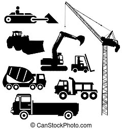 Construction machinery silhouettes including crane excavator and cement mixer