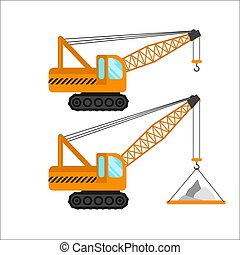 construction machinery vector illustration on white background