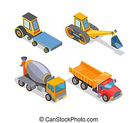 Construction machines icons, working devices set isolated icons vector. Cement mixer, truck with cabin to transport material. Excavator bulldozer