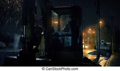 Construction Machines In Snowfall