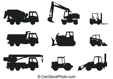 Construction machines silhouettes. - Construction machines...